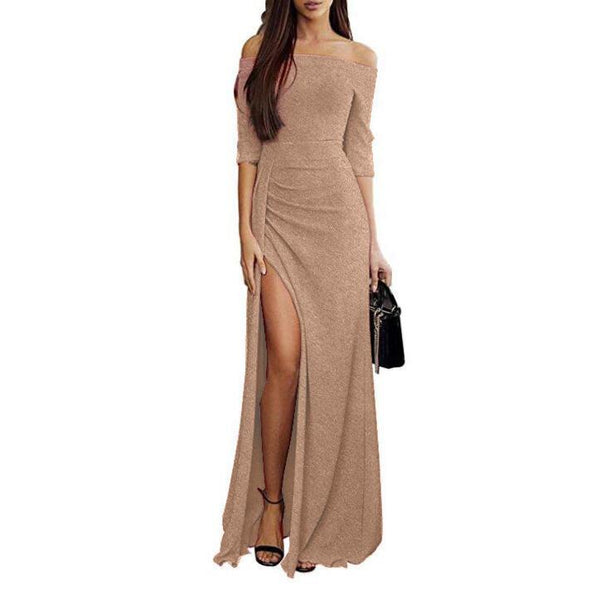 Ins Hot Elegant Off Shoulder High Slit Long Evening Dress