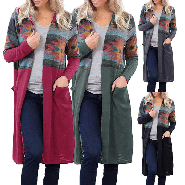 Women Contrast Color Printing Long Loose Cardigan