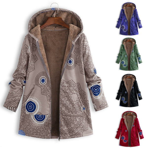 Women Fashion Printing Plus Size Hooded Velvet Coat