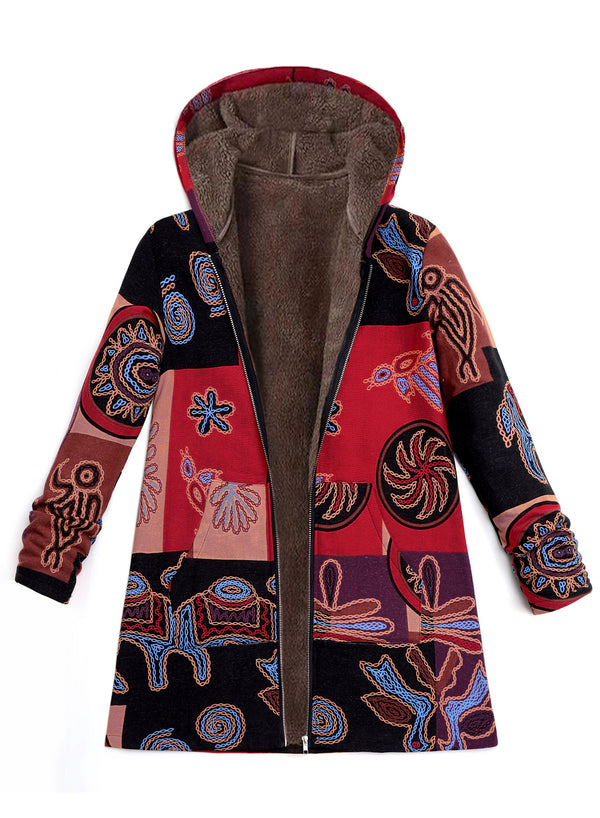 Women Fashion Printing Plus Size Velvet Hooded Coat