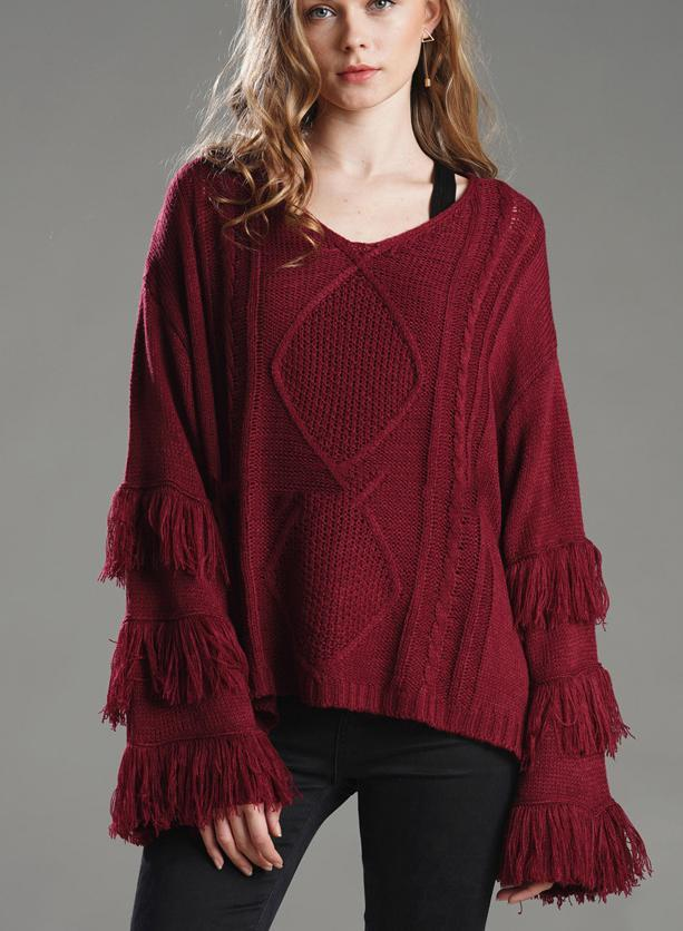 Women Round Neck Tassel Knit Loose Sweater