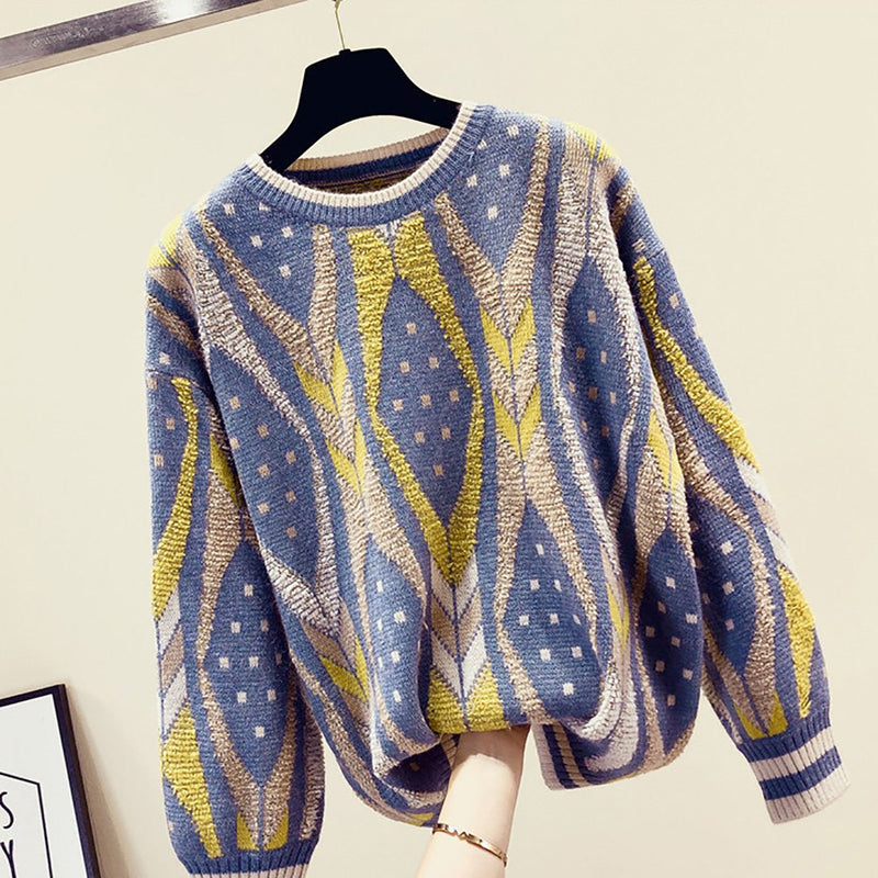 Ins Hot Round Neck Stylish Pattern Leisure Loose Sweater