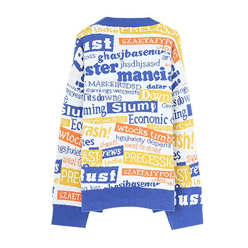Women Retro Round Neck Letters Print Leisure Knit Sweater