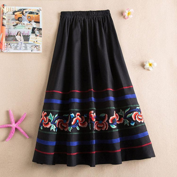 Vintage Ethnic Floral Embroidered Maxi Skirt