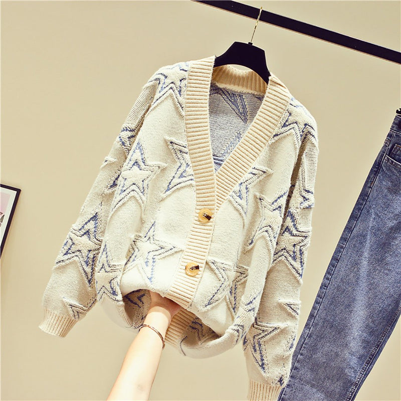 Ins Hot Round Neck Leisure Stars Knit Cardigan