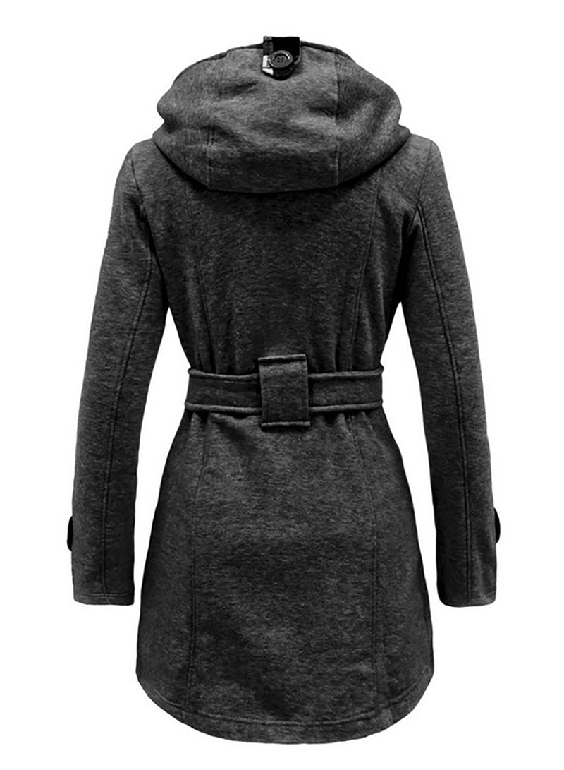 Women Double Breasted Belt Hooded Wool Coat