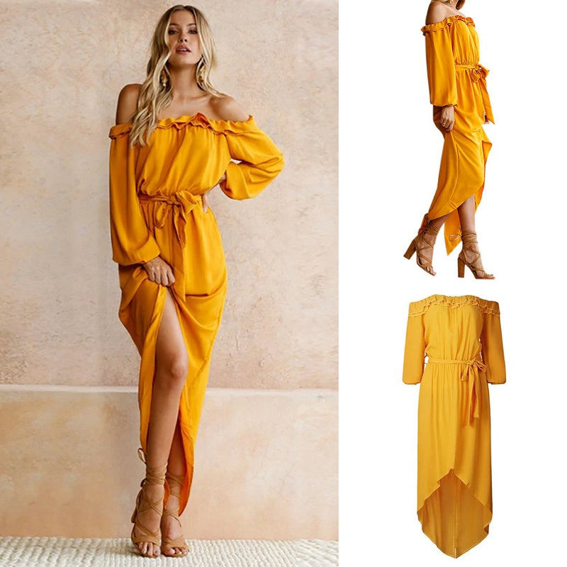Women Bohemian Off Shoulder Ruffles Beach Vintage Long Split Maxi Dress