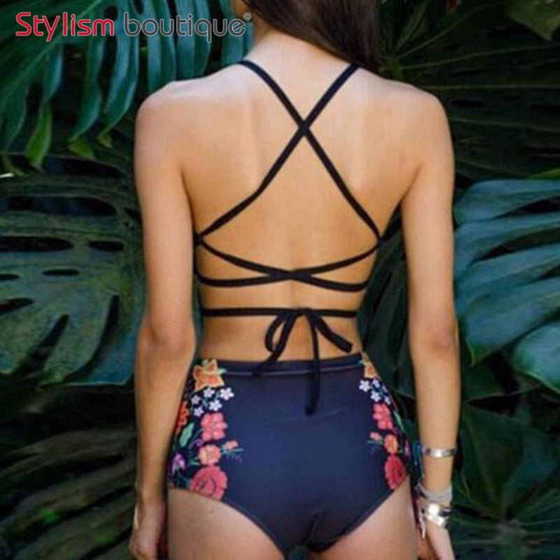 Sexy Floral Ethnic Printed High Waist Swimsuit Strappy High Neck Bikinis Set