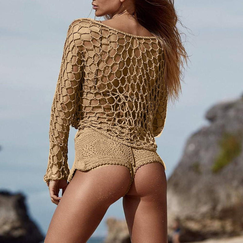 Sexy Crochet Beach Cover Up Fishnet Sarong Wrap Bikini Handmade Smock