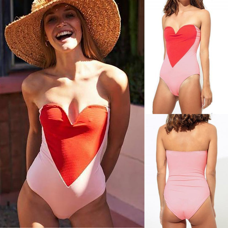 Sexy Heart Print Stitching Tube One Piece Swimsuit
