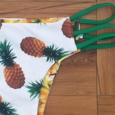Women's 2 Piece Pineapple Printed Strappy Bikini Set
