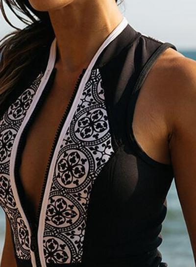 Women's Zipper Sleeveless Printed One Piece Swimwear