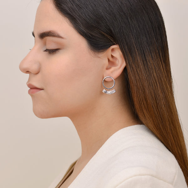 Soft Rhythm- Modern Silver Earrings - Pargo Jewelry