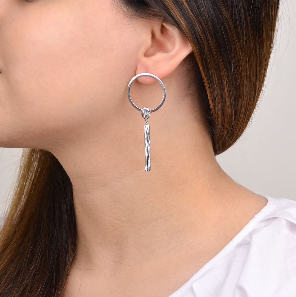 Jari Earrings - Contemporary Silver Earrings- Pargo Jewelry