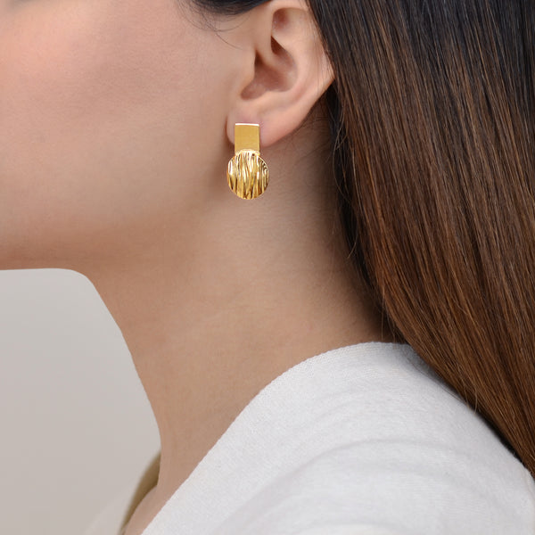 Reflections Earrings - Contemporary Gold Earrings - Pargo Jewelry