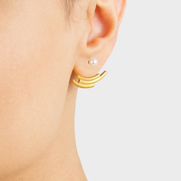 Contemporary Earrings - Gold and Pearl - Pargo Jewelry