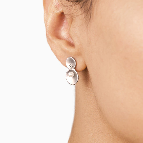 Origin Earrings - silver and freshwater pearls  - Pargo Jewelry