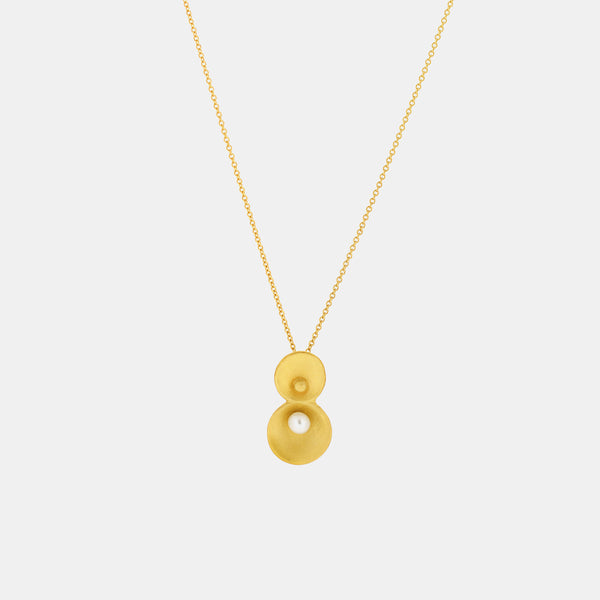Contemporary Gold Necklace with Freshwater Pearl - Pargo Jewelry