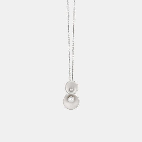 Contemporary silver necklace with freshwater pearl - Pargo Jewelry