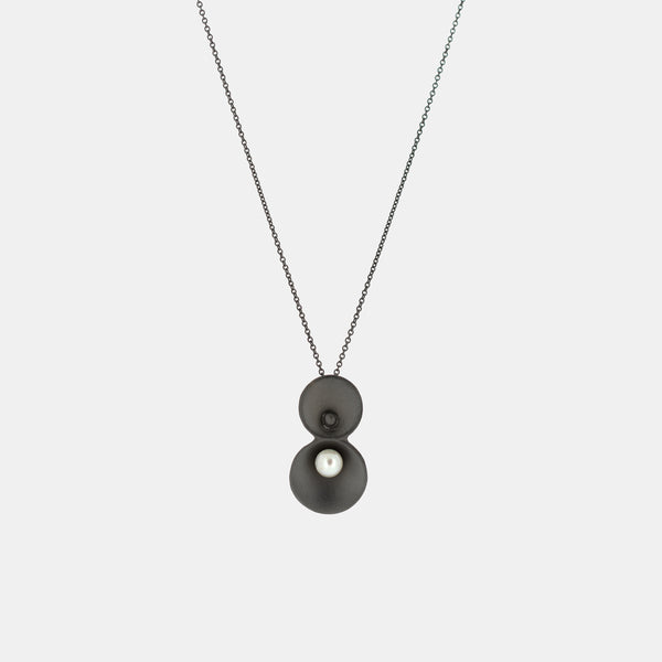 Origin Necklace - Ruthenium Plated Silver and Pearl - Pargo Jewelry