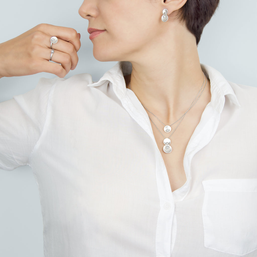 Origin Collection - Pargo Jewelry - Earrings, rings, necklace in silver and freshwater pearl.
