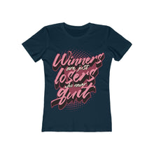 Load image into Gallery viewer, Women's Winners Never Quit Tee, Solid Midnight Navy