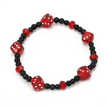 Load image into Gallery viewer, Black and Red Dice Bracelet