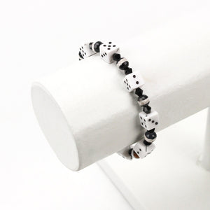 Black and White Dice Bead Bracelet
