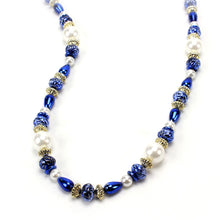 Load image into Gallery viewer, Blue, Gold and White Bead Necklace