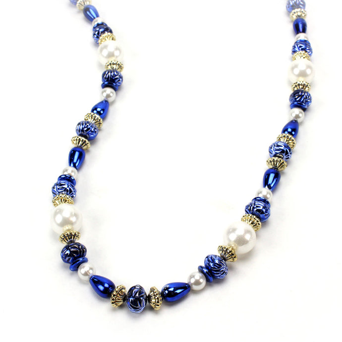 Blue, Gold and White Bead Necklace