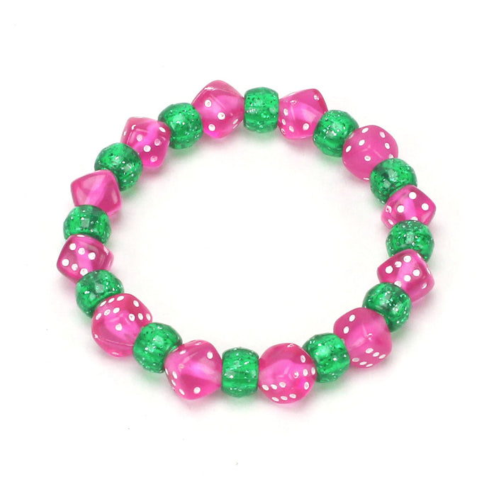 Green and Pink Dice Bracelet