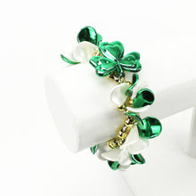 Load image into Gallery viewer, Green, White and Gold Clover Bracelet