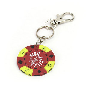 High Roller Poker Chip Keychain, Red