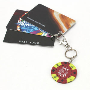 High Roller Poker Chip Keychain with cards