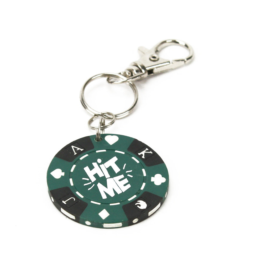 Hit Me Poker Chip Keychain, Green