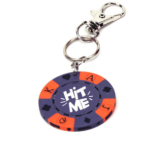 Hit Me Poker Chip Keychain, Purple