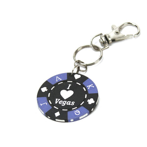 I Love Vegas Poker Chip Keychain, Black