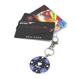 I Love Vegas Poker Chip Keychain with cards