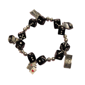 Gaming Charms Dice Bracelet, Black