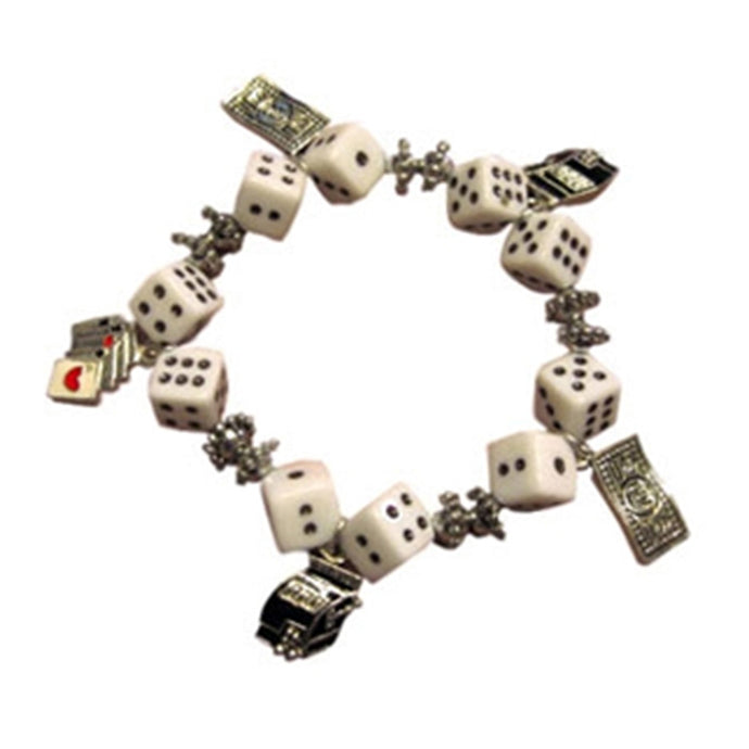 Gaming Charms Dice Bracelet, White