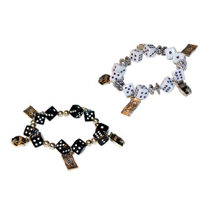 Gaming Charms Dice Bracelet, Black and White