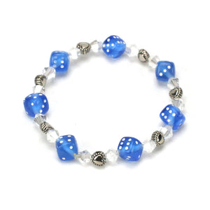 Heart Bead and Blue Dice Bracelet