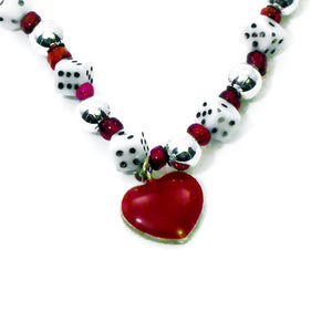 Heart Pendant Dice Necklace, Close-up