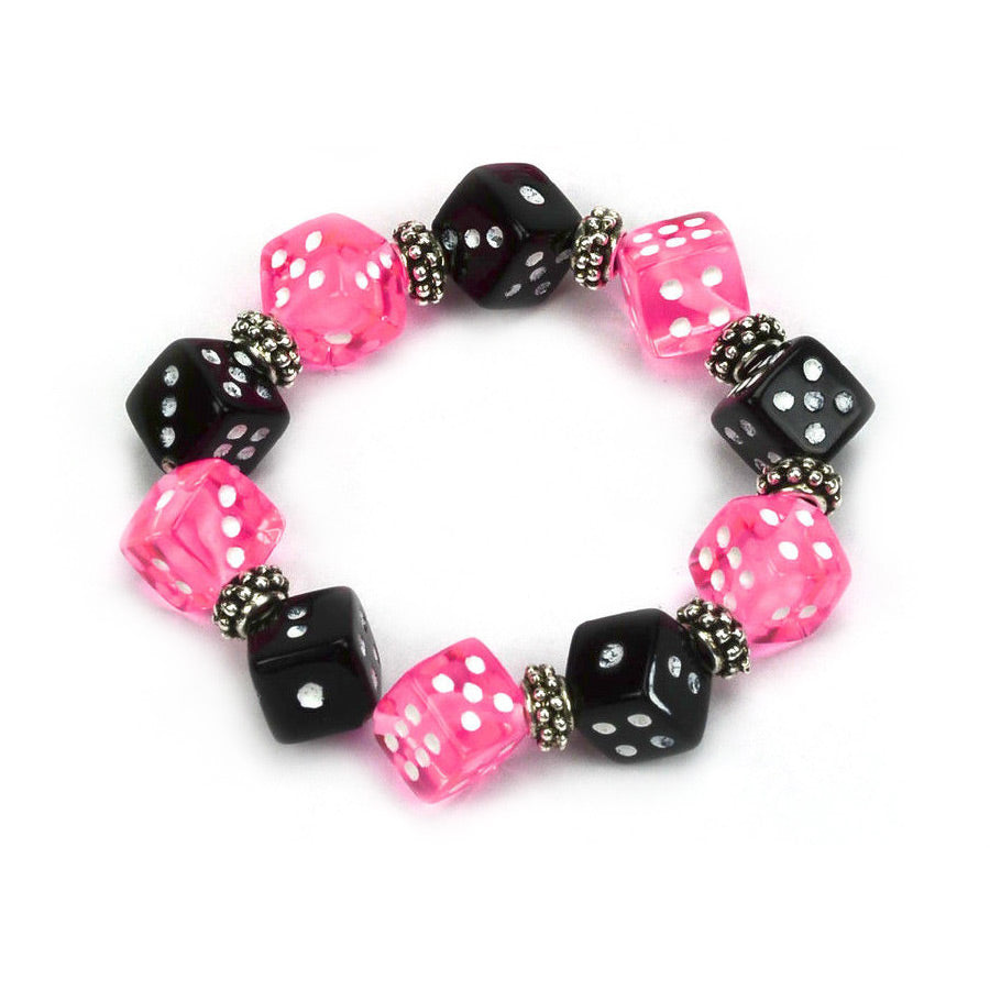 Pink and Black Dice Bracelet