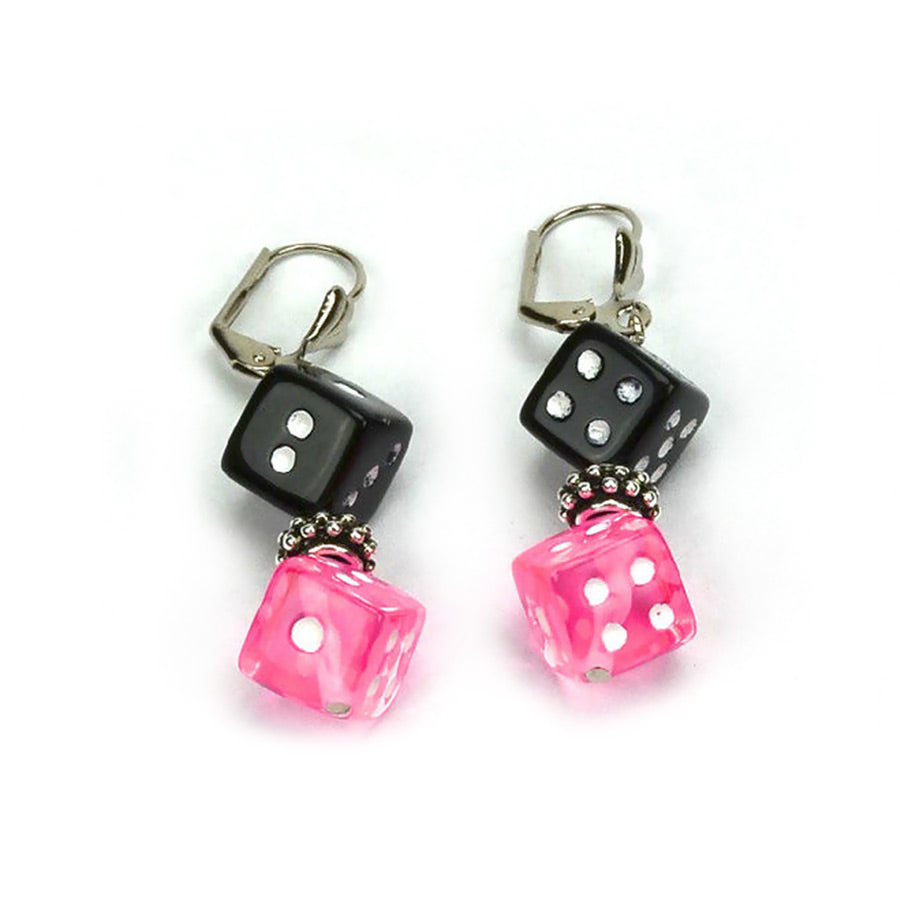 Pink and Black Dice Earrings