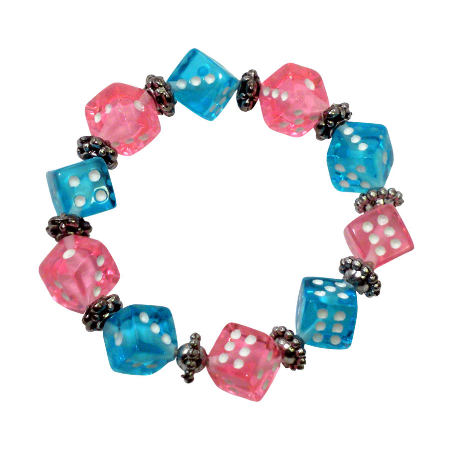 Pink and Blue Dice Bracelet