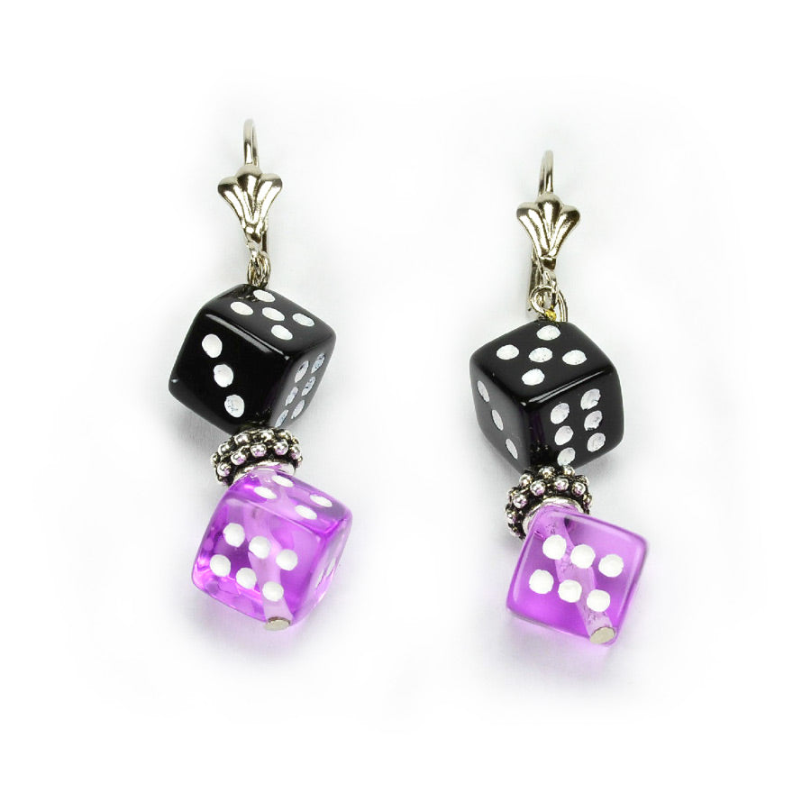 Purple and Black Dice Earrings