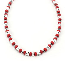 Load image into Gallery viewer, Red and White Dice Necklace