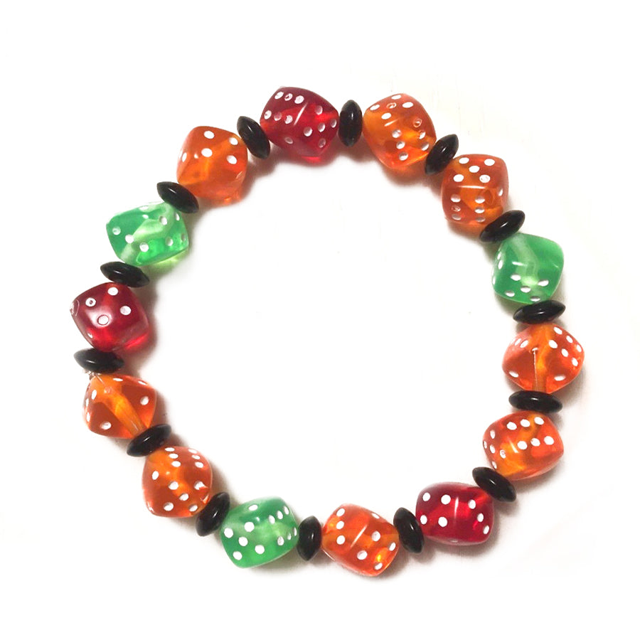 Red, Orange and Green Dice Bracelet