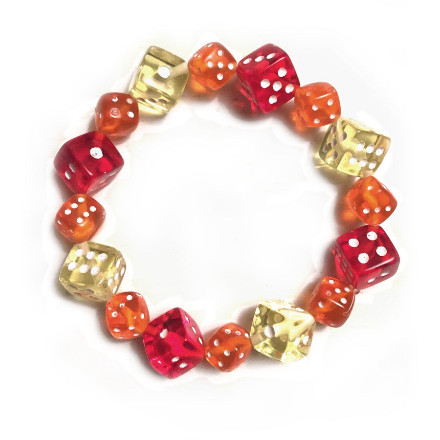 Red, Orange and Yellow Dice Bracelet